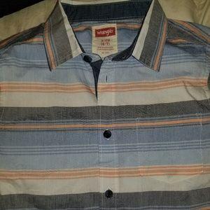 Wrangler Striped Button Up Boys Shirt
